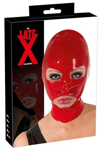 Latex-Maske rot mit Augen, Mund, Nasen-Öffnung
