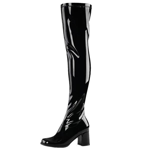 Lack Overknee-Stiefel, A=7,5 cm (Stretchlack)