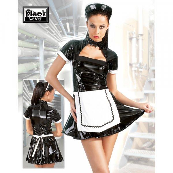 Lack-Servierkleid schwarz
