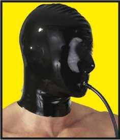 Latex-Fetisch-Maske mit langem Luftschlauch