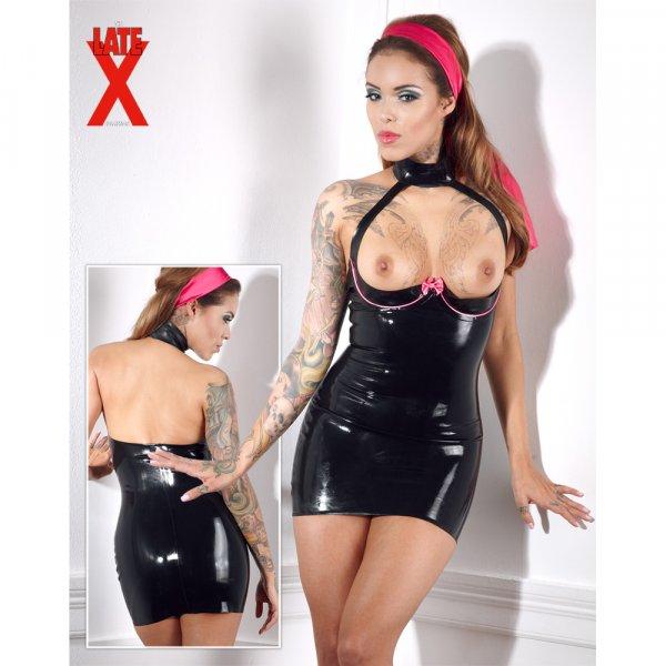 Latex Kleid schwarz/rosa