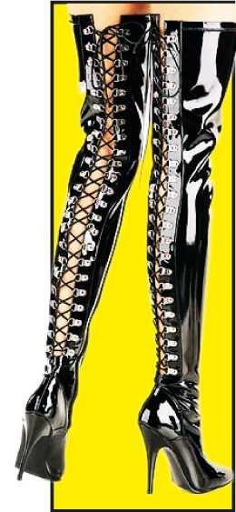 Lack-Overknee-Stiefel mit Schnürung auf der Rückseite