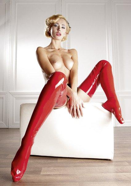 Latex-Strümpfe rot, lange Form