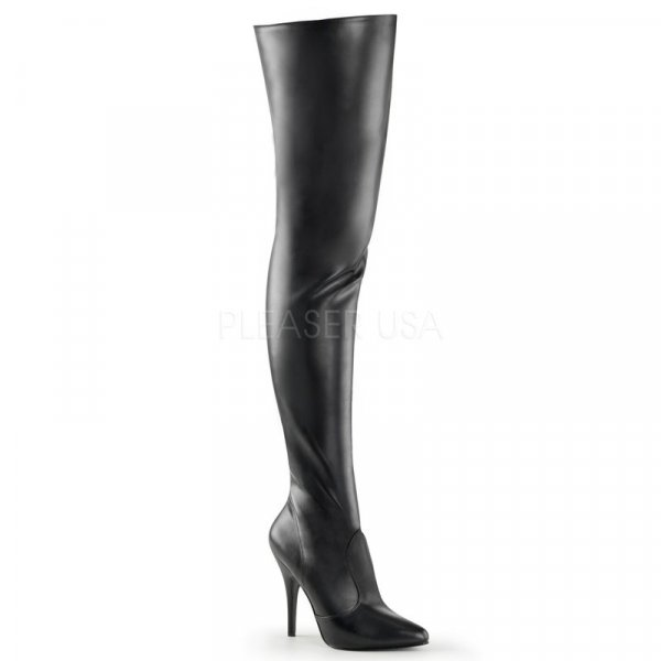 Leder-Overknee-Stiefel (Imitat) Absatz=12,5cm