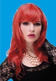 Perücke intensiv-rot, leicht gewellt, Länge ca. 50 cm