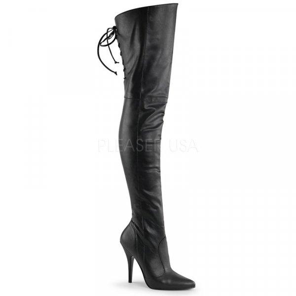 Leder-Overknee-Stiefel (Imitat) Absatz=12,5 cm