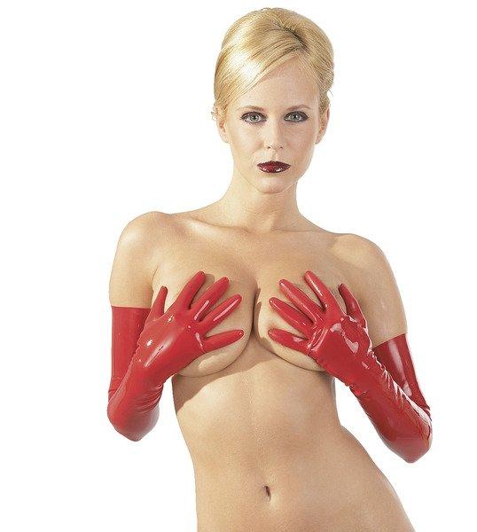 Latex-Handschuhe rot, schulterlang