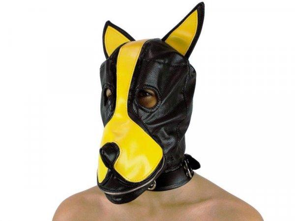 Dog-Maske PU-Leder m. Stopfknebel + Maul-Zip