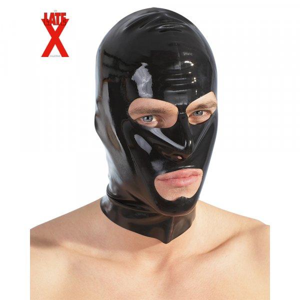 Latex-Maske schwarz, A-M-N-Öffnung (Unisex)