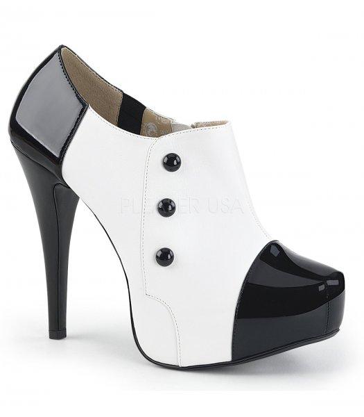 Lack High-Heels schwarz/weiß Absatz 13,5cm Plateau 3,2 cm
