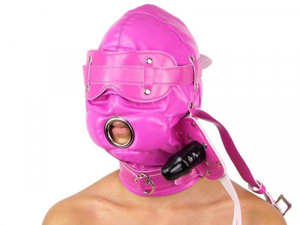 PU-Leder-Maske, Augenklappe+Dildo-Knebel 7x3,5