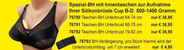Spezial-BH mit Innentaschen Ihrer Silikonbrüste S