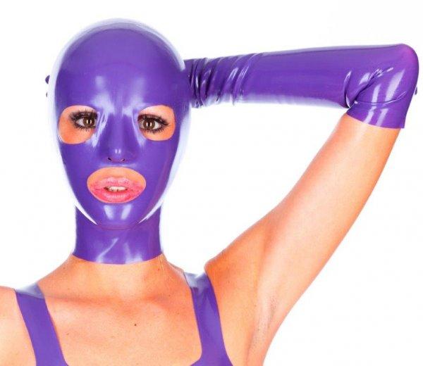 Latex-Edel-Maske lila für Sie & Ihn