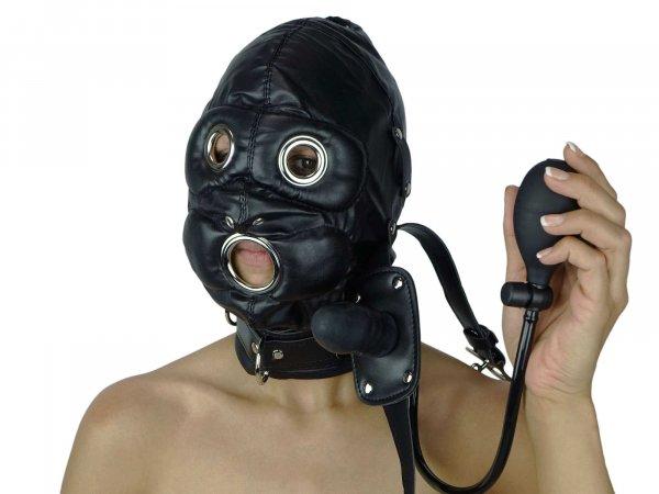 Sklavenmaske mit aufblasbaren Dildo-Knebel