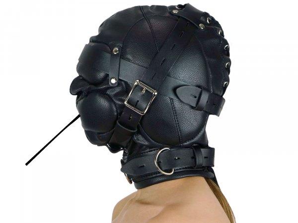 Leder Sklaven-Maske mit Atemschlauch