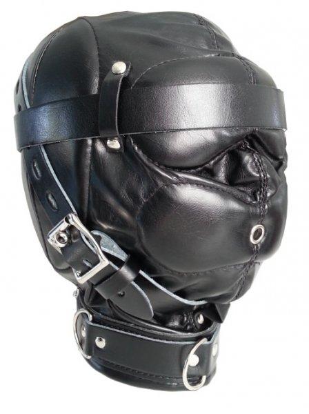 Leder Maske gepolstert schwarz