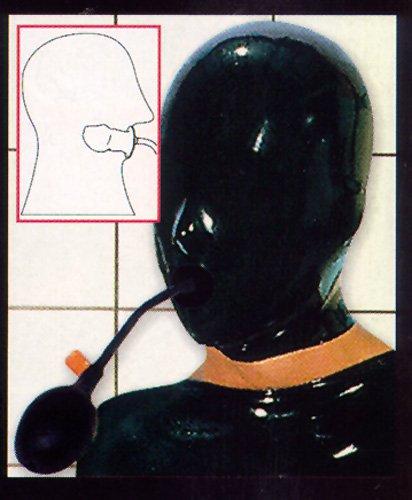 Latex Kopfmaske mit aufblasbarem Innenknebel