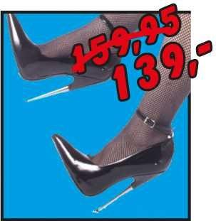 Lack-High-Heels mit Metallic-Absatz