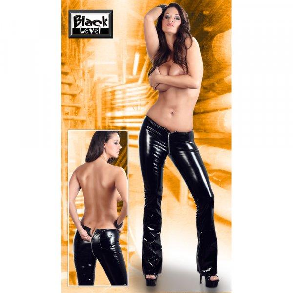 Lack Hose mit Zip schwarz